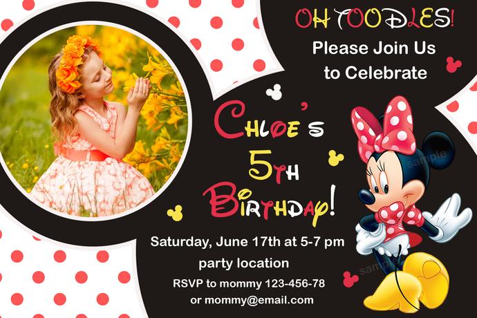 Minnie mouse Birthday invitation,Birthday Party Invitation,Girl Birthday