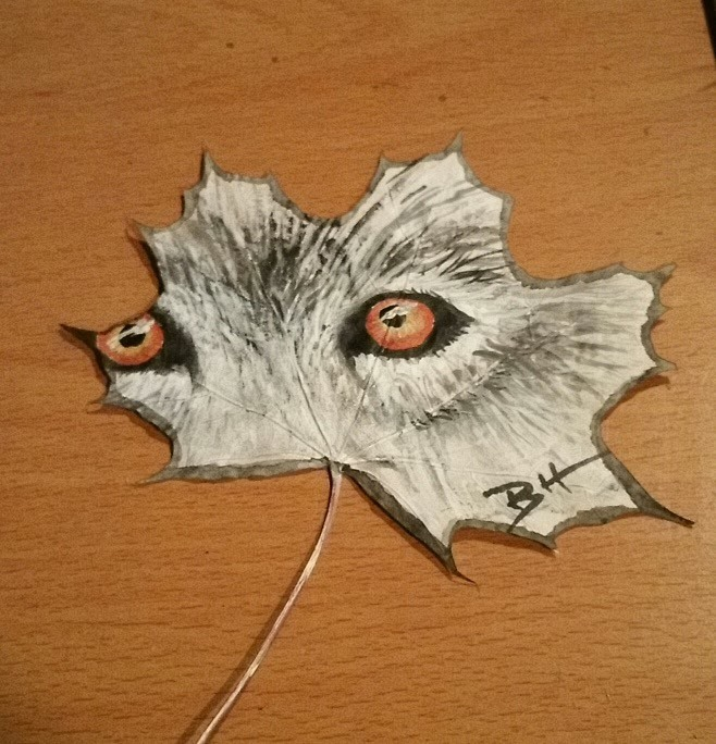 Hand painted Maple Leaf - Wolf - Look into my Eyes