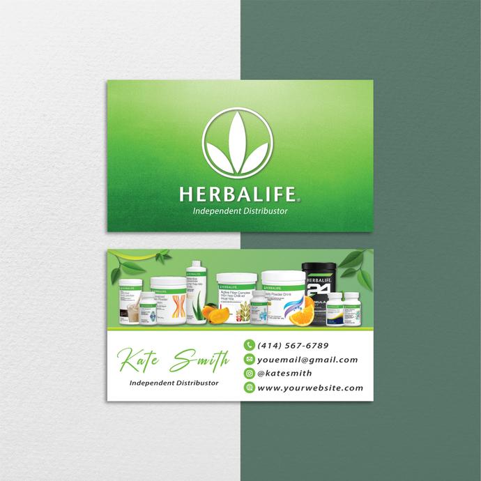 Watercolor Herbalife Business Cards, Custom Herbalife Business Cards, Herbalife