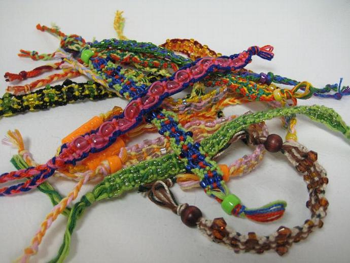 Grab Bag of Beaded Wavy Micro Macrame Friendship Bracelet Set of 5