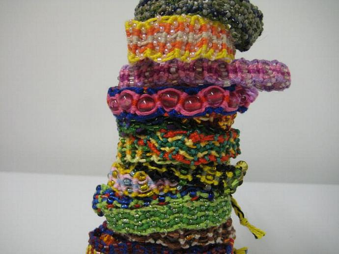 Grab Bag of Beaded Wavy Micro Macrame Friendship Bracelet Set of 5