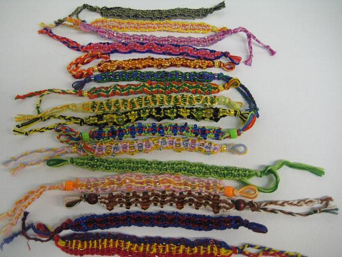 Grab Bag of Beaded Wavy Micro Macrame Friendship Bracelet Set of 10