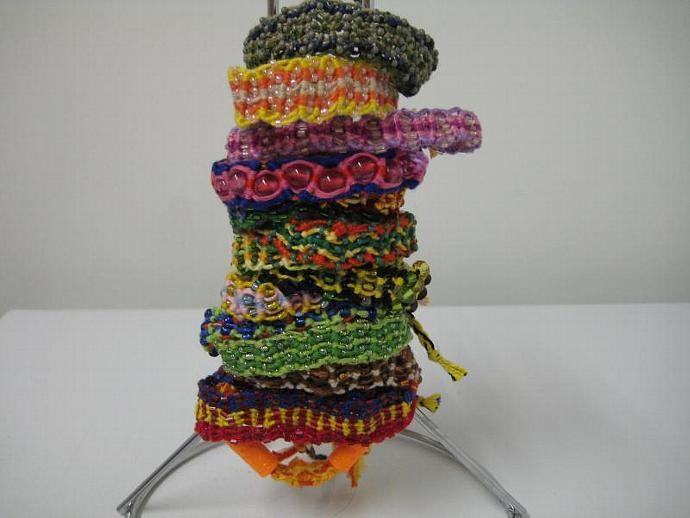 Grab Bag of Beaded Wavy Micro Macrame Friendship Bracelet Set of 15