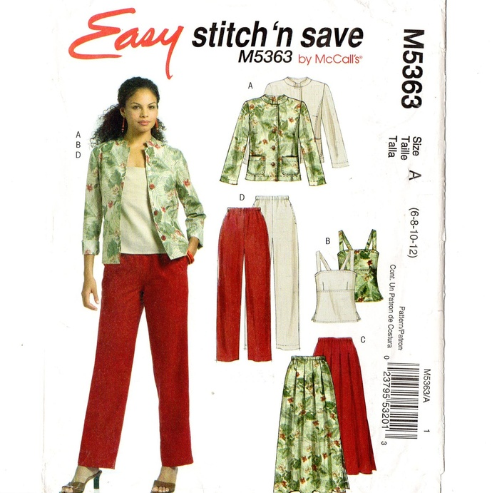 McCall's 5363 Misses Jacket, Top, Skirt, Pants Sewing Pattern Uncut Size 6, 8,