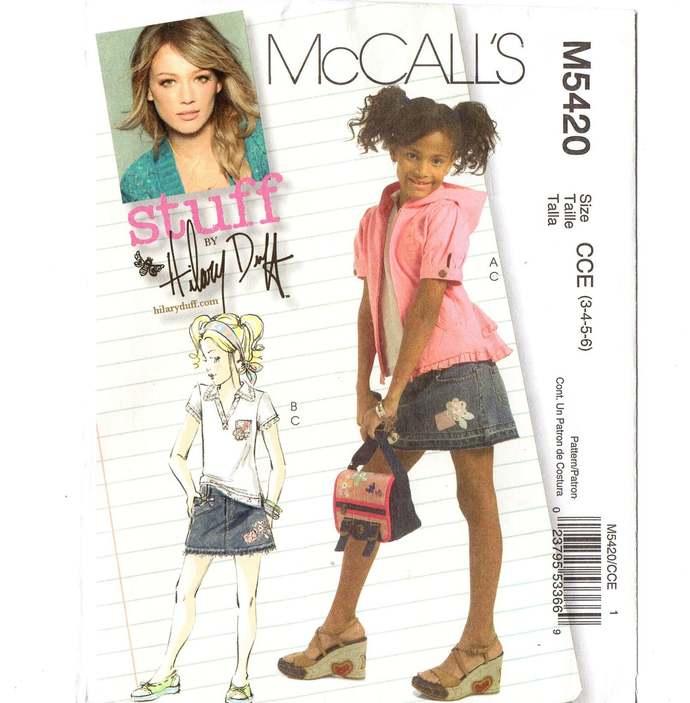 McCall's 5420 Girls Jacket, Top, Skirt Sewing Pattern Uncut Size 3, 4, 5, 6