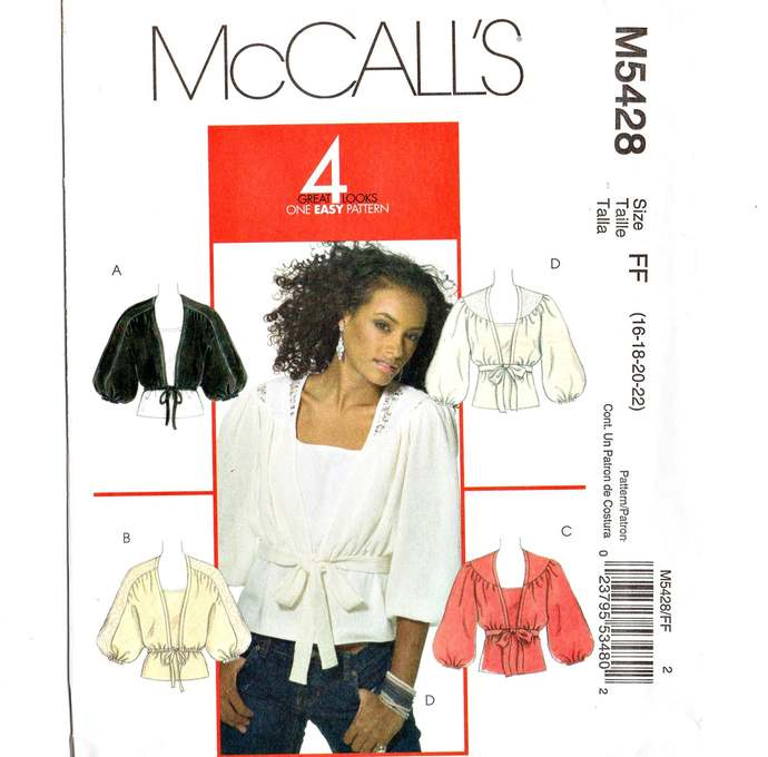McCall's 5428 Misses Shrug, Top Sewing Pattern Size 16, 18, 20, 22 Uncut Plunge