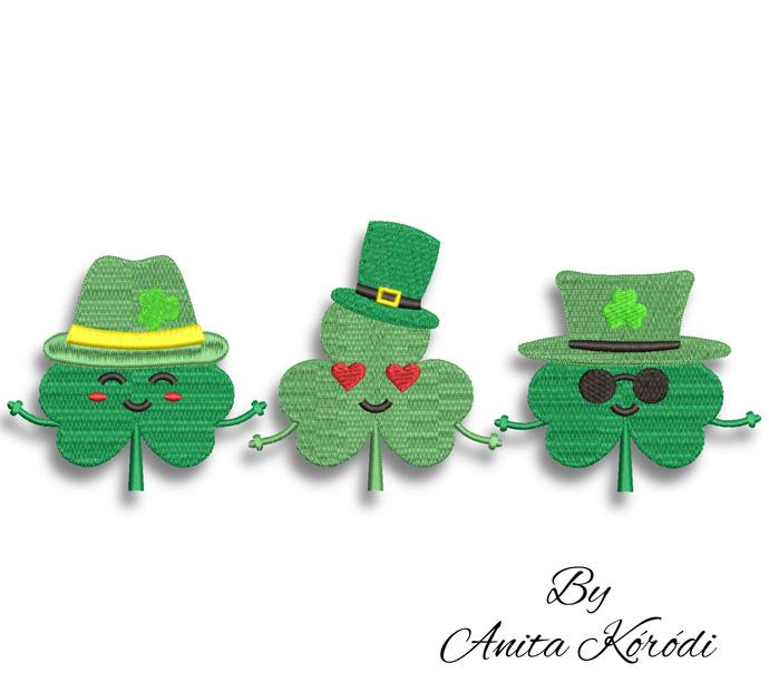 Shamrock clover embroidery machine designs St.Patrick's day pattern