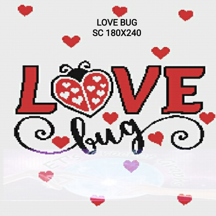 Love Bug SC 180x240 includes graph with color block instructions