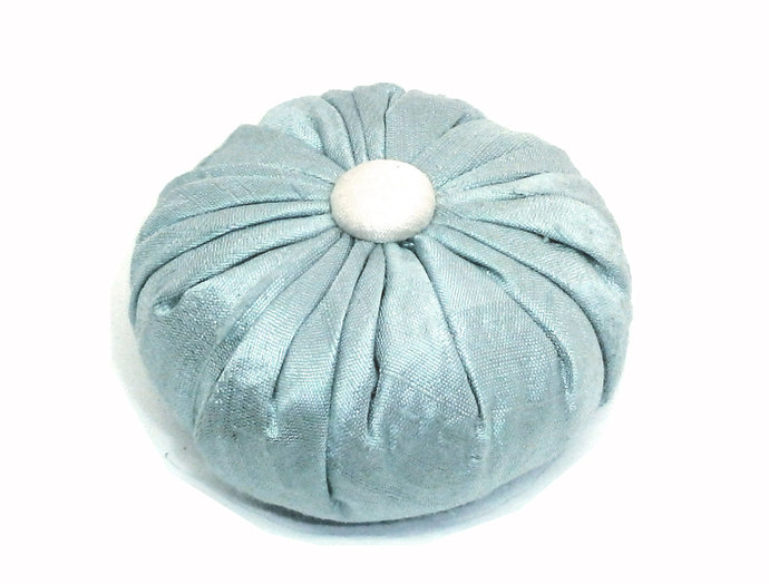 Lavender Sachet in Blue Dupioni Silk with Cream Button