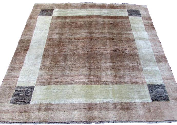 Handmade vintage Persian Gabbeh rug 6.2' x 6.4' (186cm x 190cm) 1970s - 1Q0051