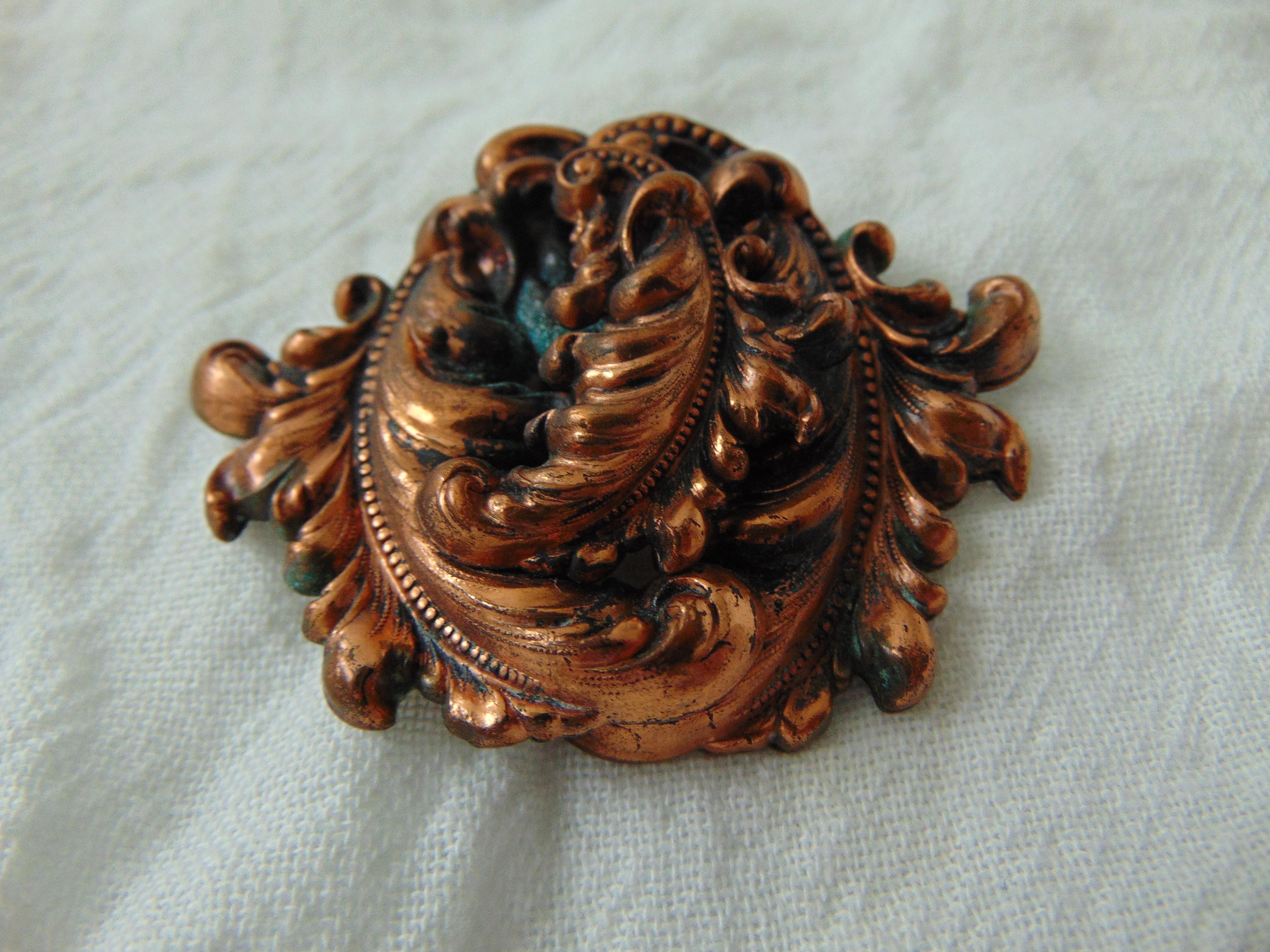 vintage Style Metal Specialty N.Y. signed copper florentine dress clip