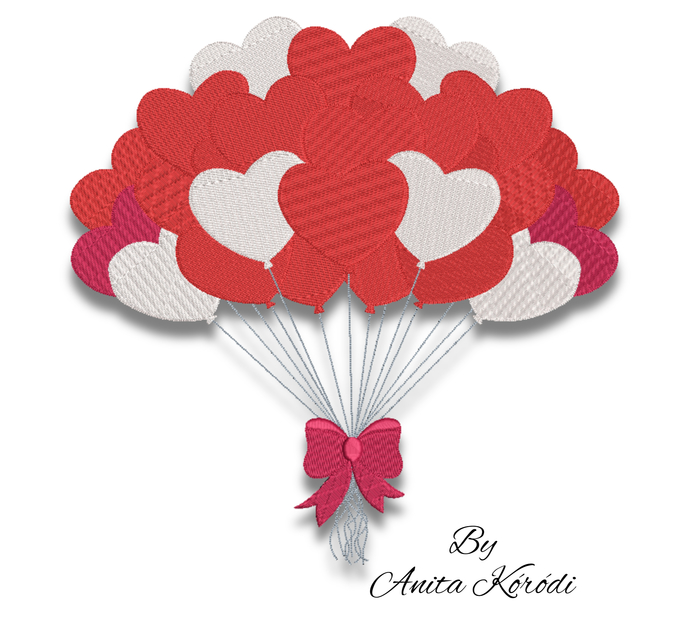 Birthday Hearts Balloons pes embroidery machine design instant digital download