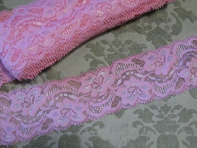 1yd - Pink Floral Stretch Lace (SL-1)