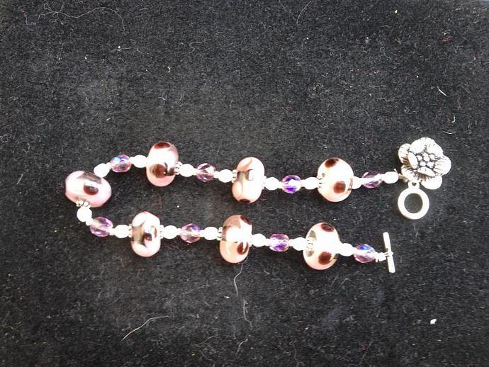 pink flowered bracelet