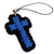 Two Blue and Black Christian Cross Charms