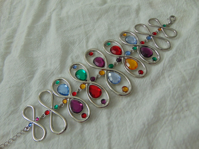 vintage silver colorful crystals bracelet made by Fragments Mfg.Co.