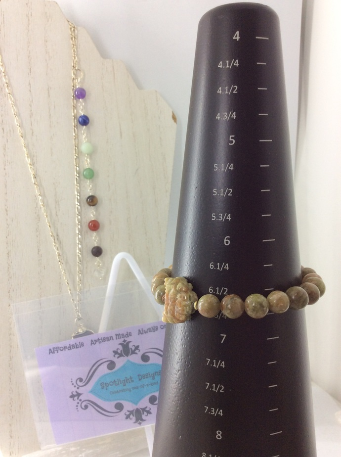 Buddha Autumn Jasper  stretch bracelet