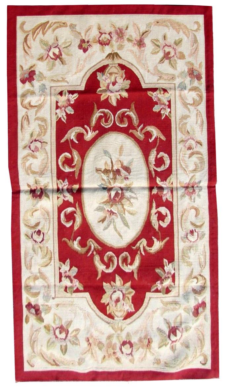 Handmade vintage French Aubusson rug 2.6' x 4.7' (80cm x 145cm) 1980s - 1Q0246