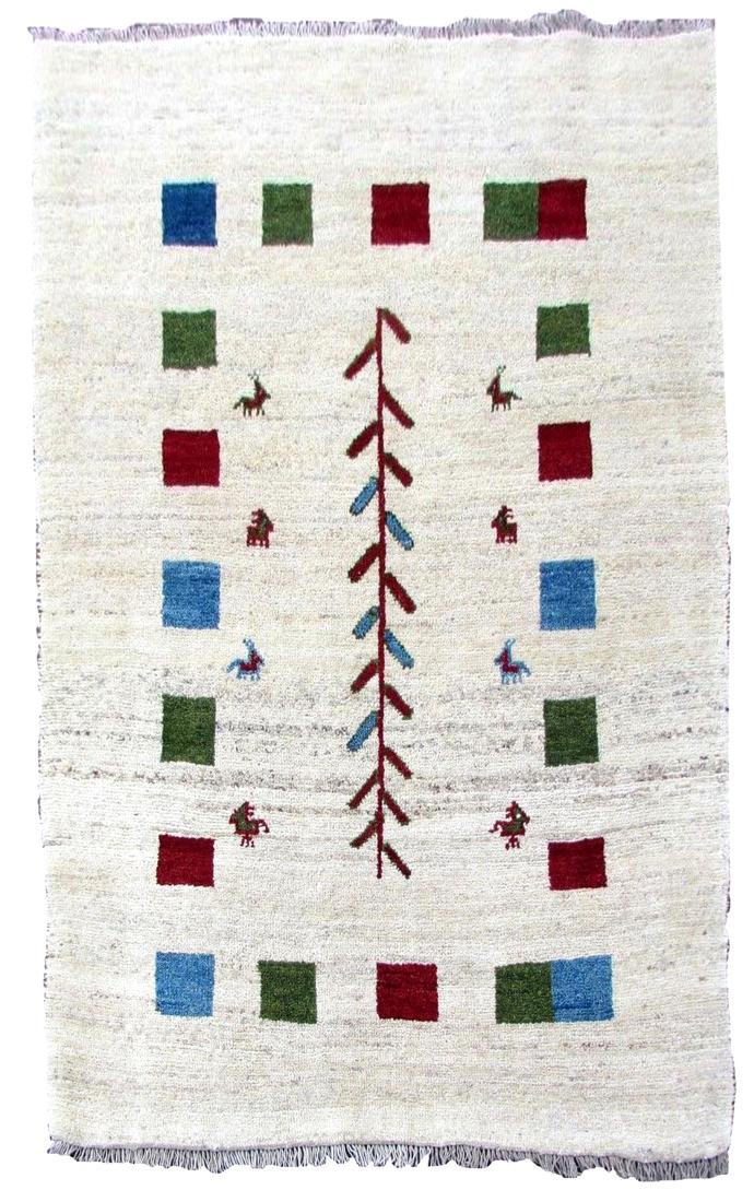Handmade vintage Persian Gabbeh rug 3.7' x 5.6' (114cm x 172cm) 1980s - 1Q0290