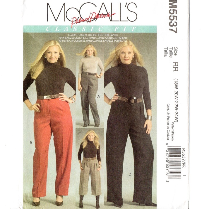 McCall's 5537 Women's Pants Sewing Pattern Plus Size 18, 20, 22, 24 Uncut