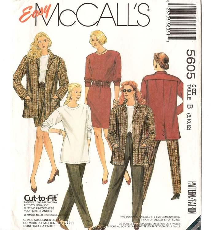 McCall's 5605 Misses Jacket, Top, Skirt, Pants 90s Vintage Sewing Pattern Uncut