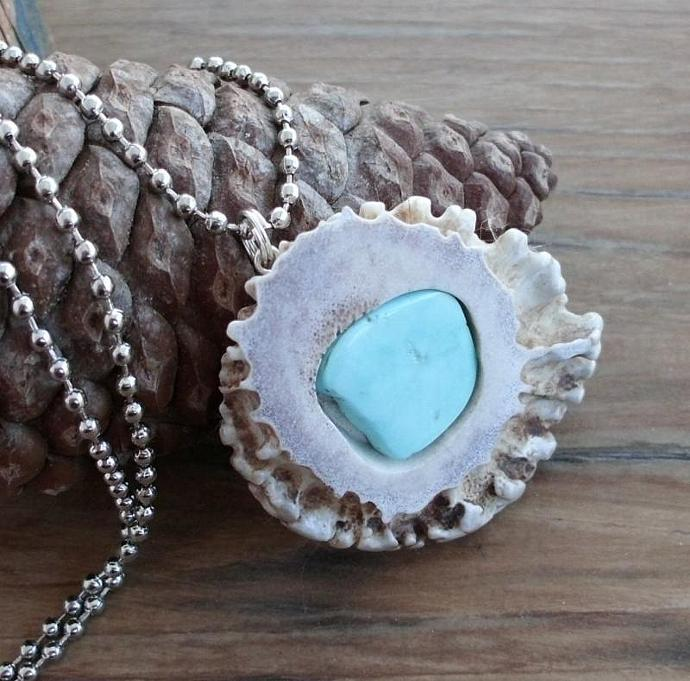 Amazing Antler Shed Deer Horn and Kingman Turquoise Necklace