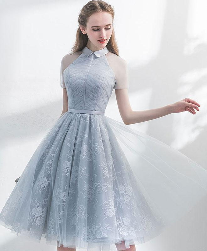 Grey High Neckline Lace and Tulle Short Party Dress, Grey Prom Dress Homecoming