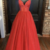 Red tulle beads long A line prom dress evening dress ,BP8899