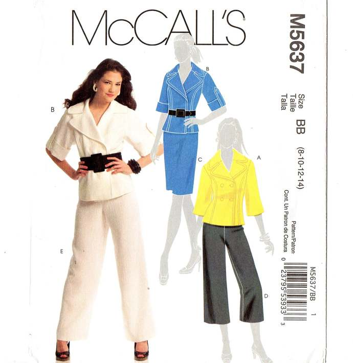 McCall's 5637 Misses Jacket, Skirt, Pants Sewing Pattern Size 8, 10, 12, 14