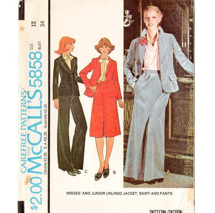 McCall's 5858 Misses Jacket, Skirt, Pants 70s Vintage Sewing Pattern Size 12