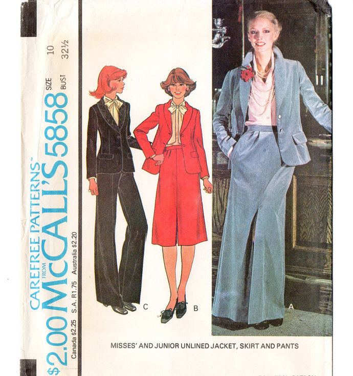McCall's 5858 Misses Jacket, Skirt, Pants 70s Vintage Sewing Pattern Size 10