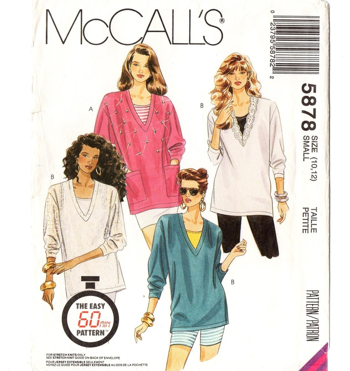 McCall's 5878 Misses 1 Hour Tunic, Tank Top 90s Vintage Sewing Pattern Size