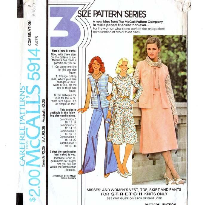 McCall's 5914 Misses Vest, Top, Skirt, Pants 70s Vintage Sewing Pattern Size 16,
