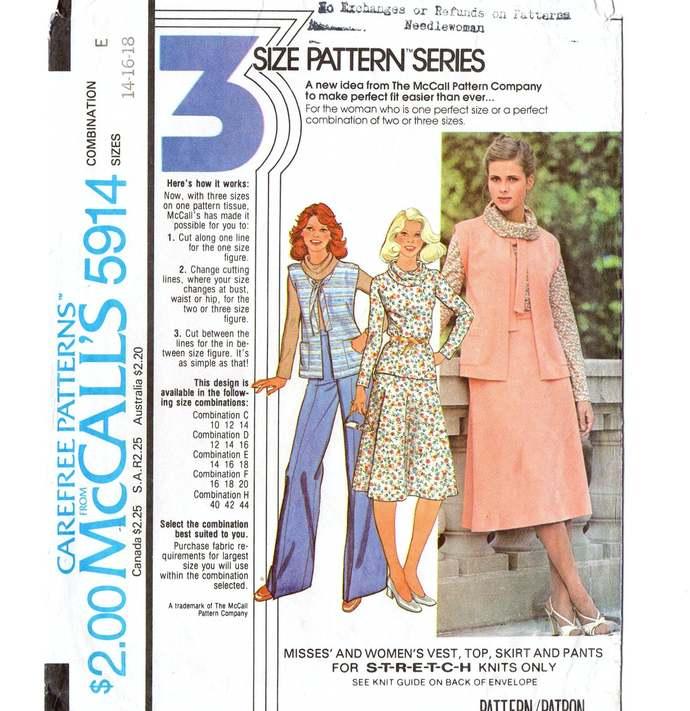 McCall's 5914 Misses Vest, Top, Skirt, Pants 70s Vintage Sewing Pattern Size 14,