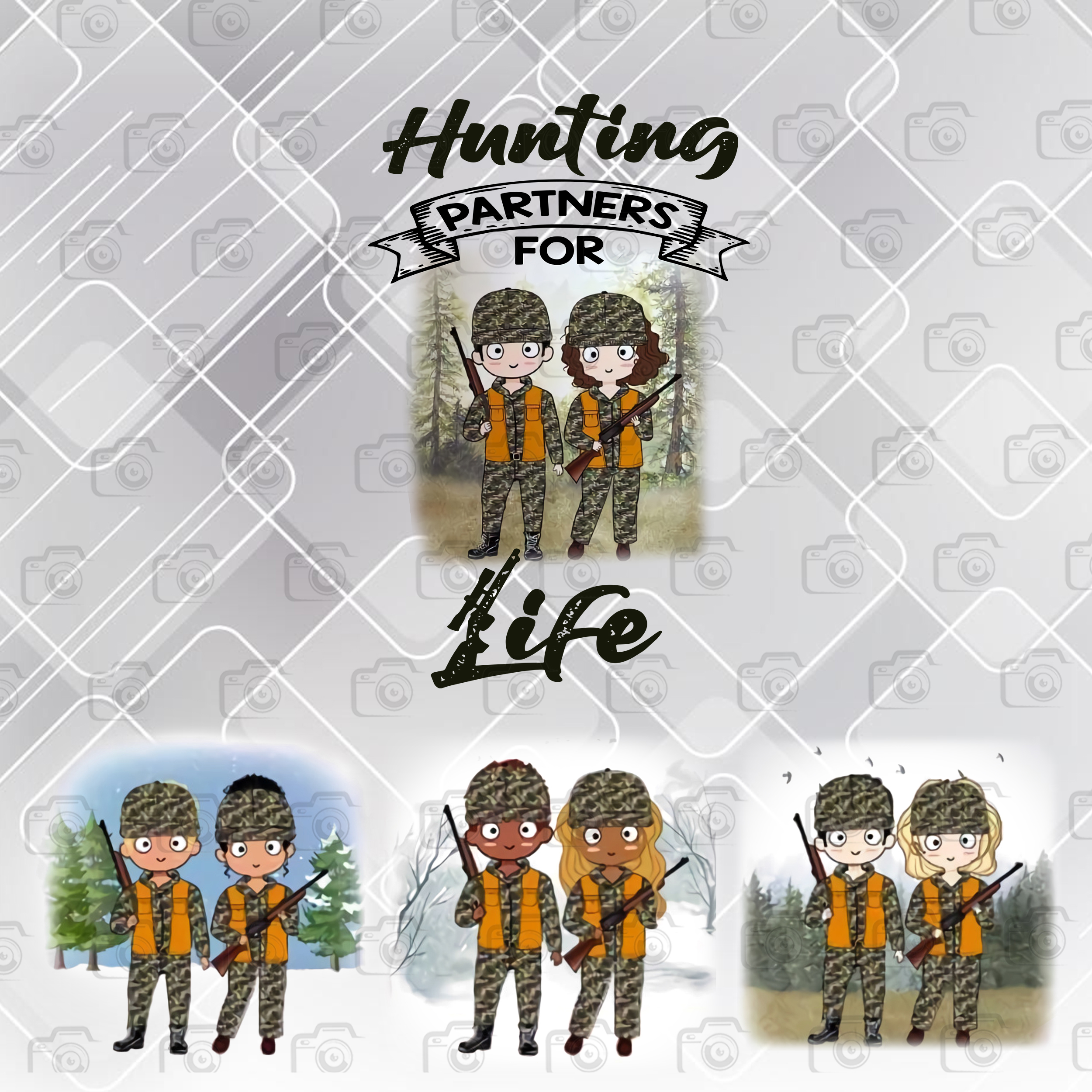 Hunting Partners For Life Png, Couple Png, Love Gun Png, Love Hunting Png,