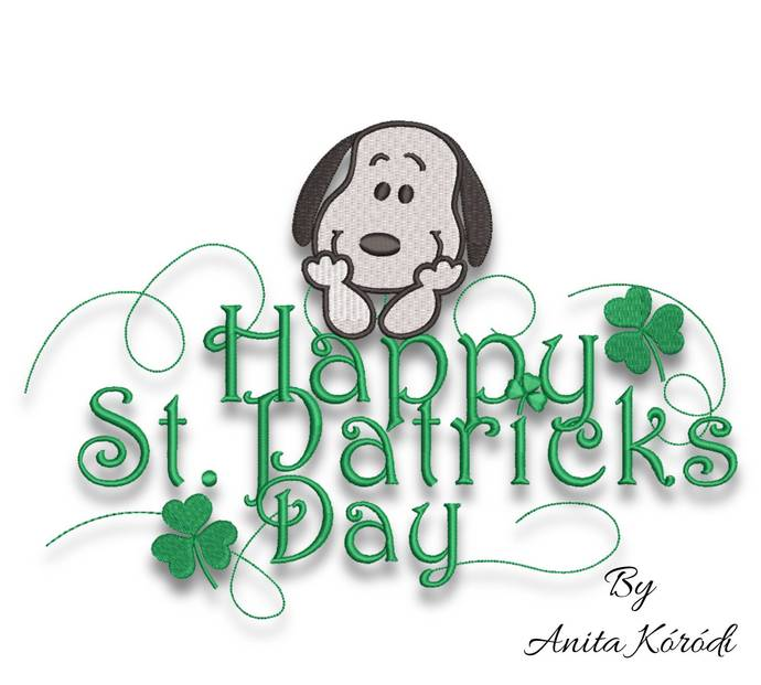 Snoopy Snoopy embroidery design St.Patrick's Day Shamrock machine designs