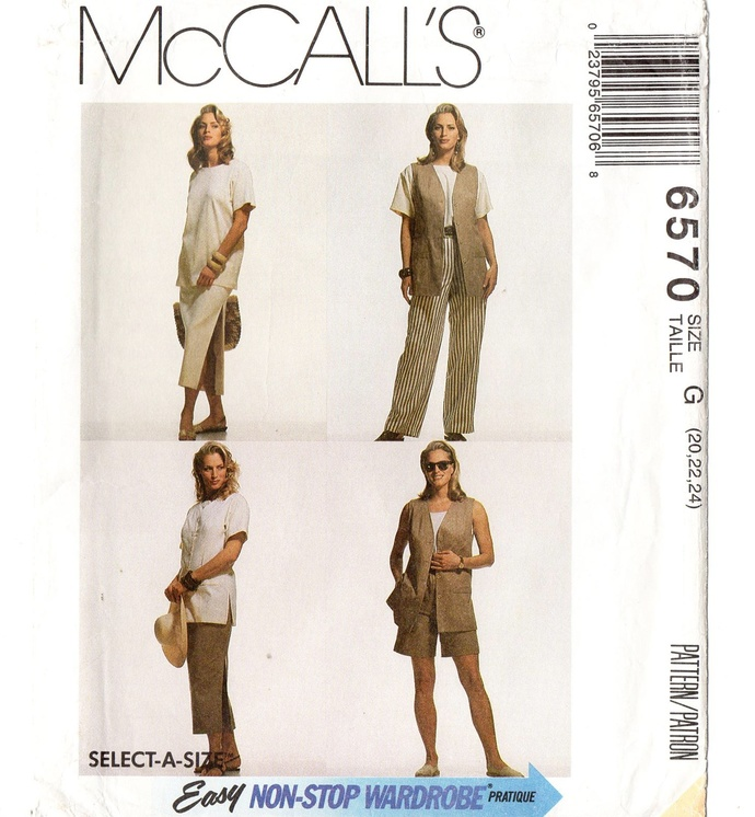 McCall's 6570 Misses Vest, Top, Skirt, Shorts 90s Vintage Sewing Pattern Uncut