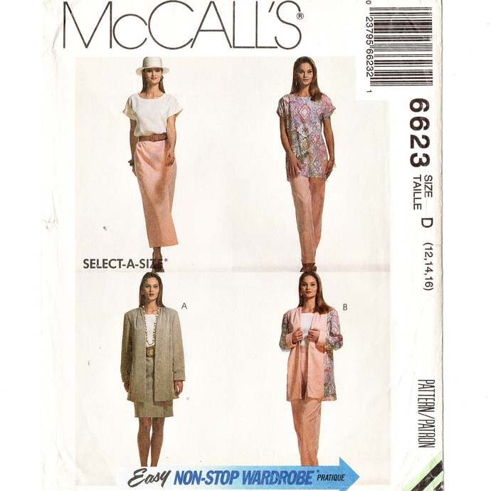 McCall's 6623 Misses Cardigan, Tunic, Top, Skirt, Pants 90s Vintage Sewing