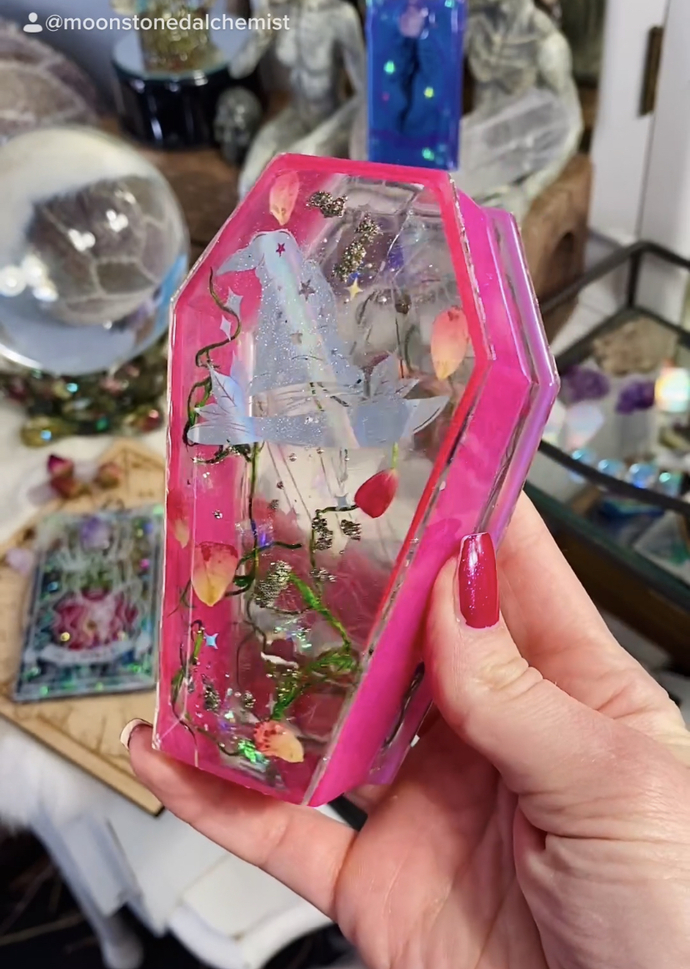 Crystal Witch Hot Pink Glowing Coffin Dish