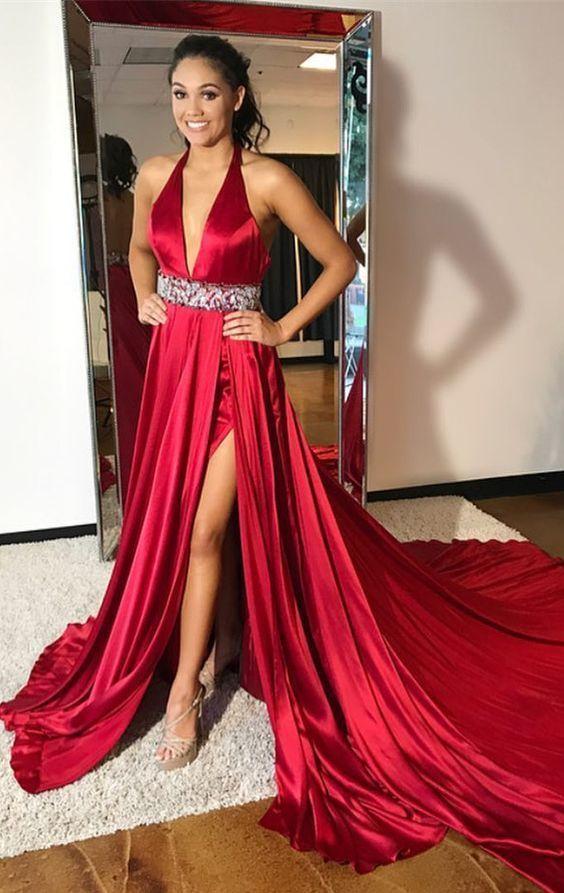 Gorgeous prom dresses, red prom dresses, side slit prom dresses M9429