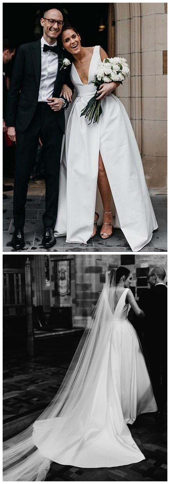New Arrival A-Line Satin Sexy V-Neck Prom Dress M9432