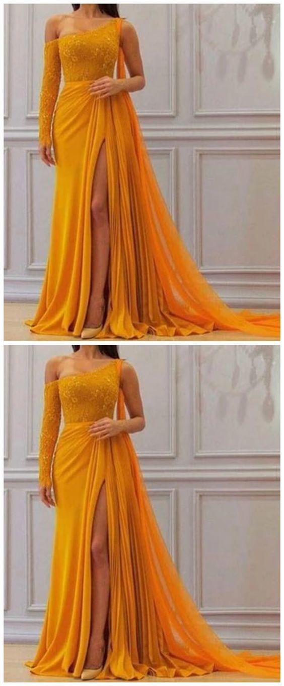 A Line Yellow One Long Sleeve Chiffon Prom Dress M9434