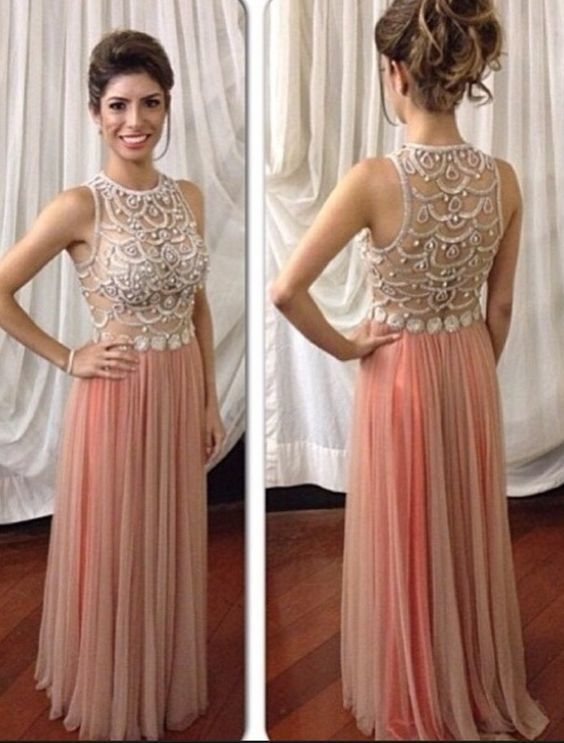 Blush Pink Prom Dresses,Sparkle Prom Gowns M9435