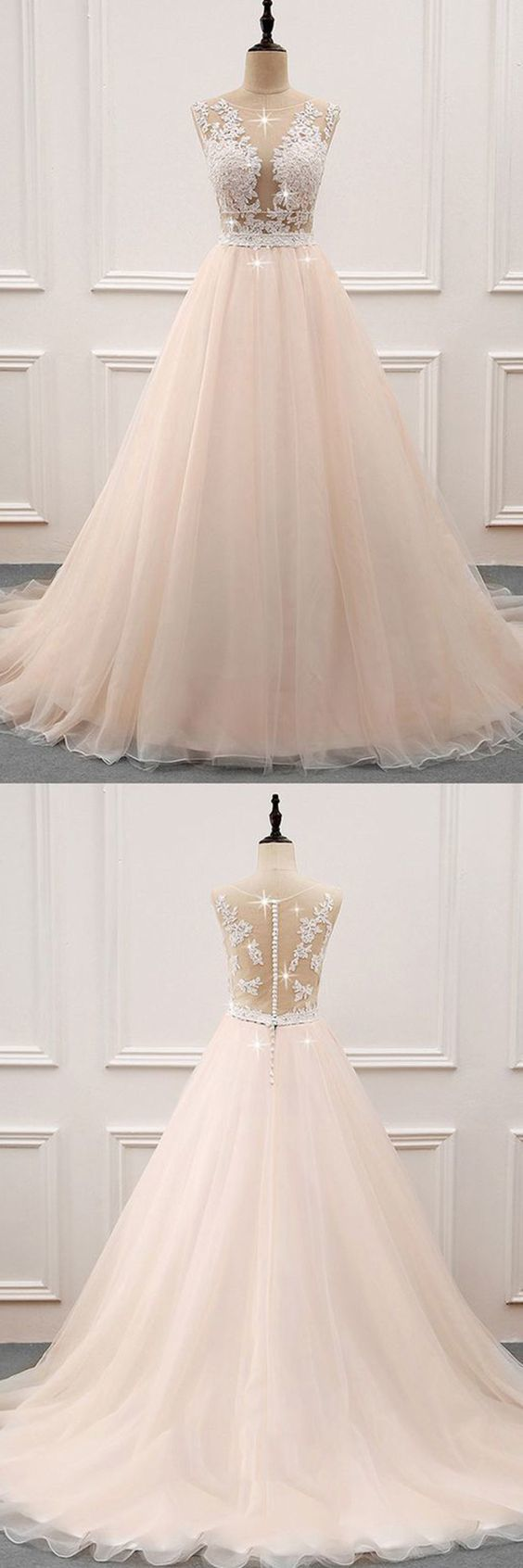 Champagne tulle lace long prom dress, evening dress M9437