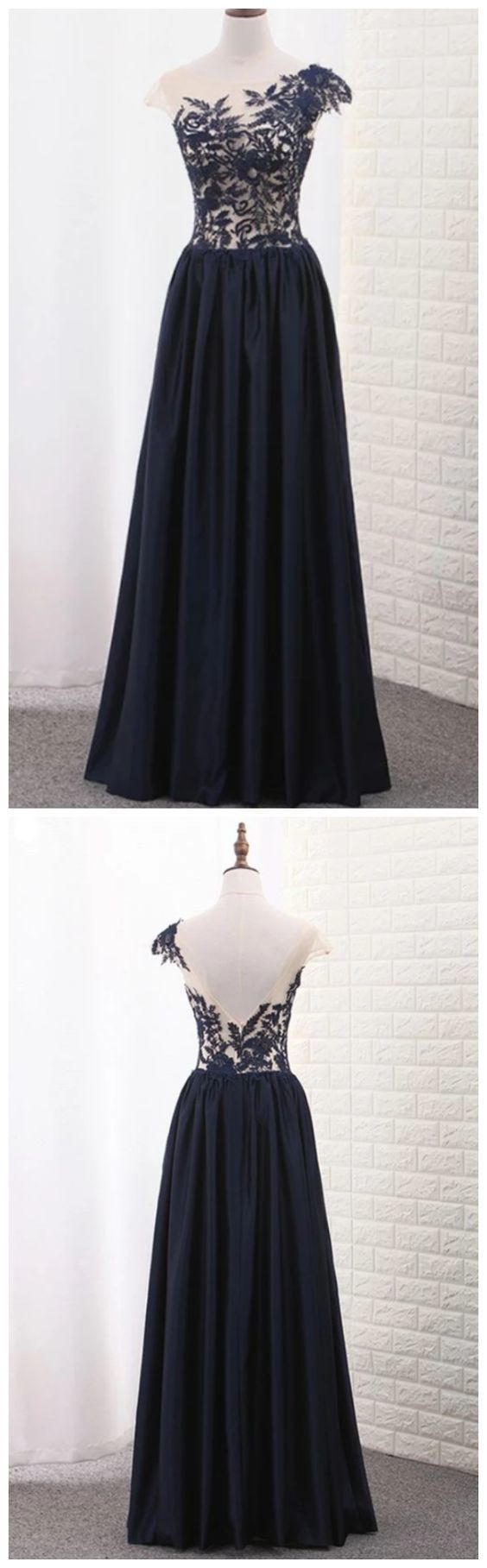 Scoop Cap Sleeves A-Line Satin with Appliques Floor Prom Dress M9438