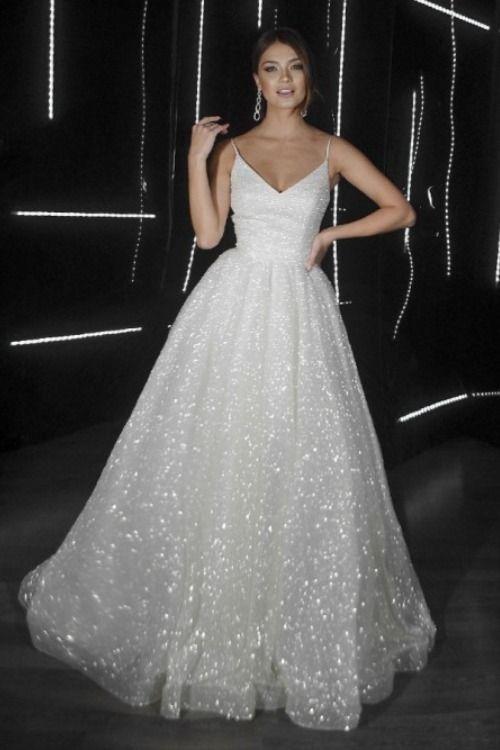 Sparkly Charming V Neck Straps Sequins White Prom Dresses M9440
