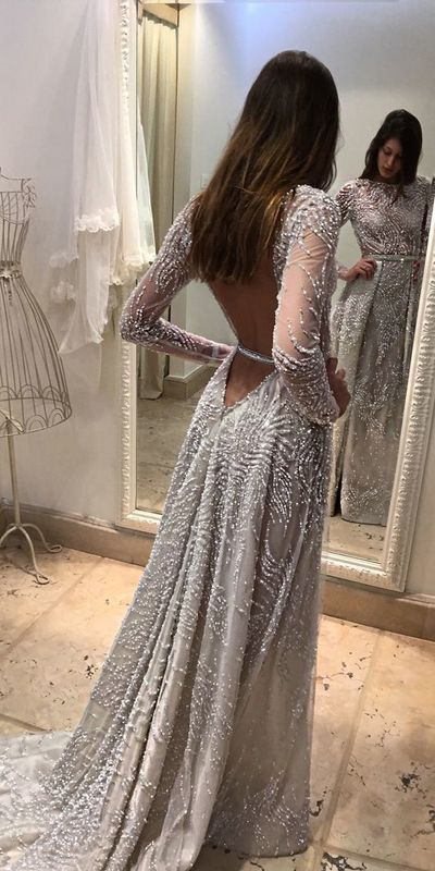 Round Neck Long Prom Dress With Beading , Open Back Prom Dress With Sleeves