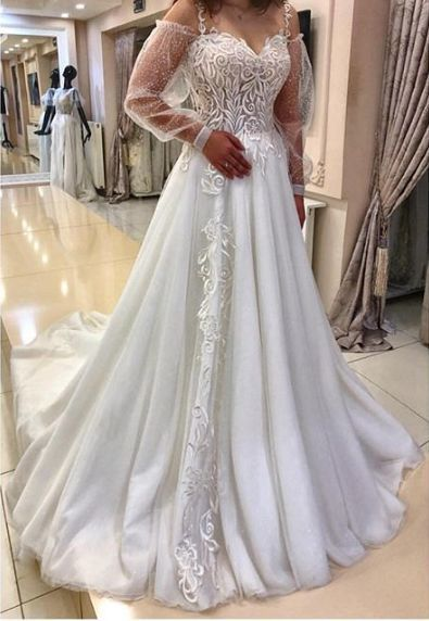 Lace Charming Prom Dress with Long Sleeve M9449