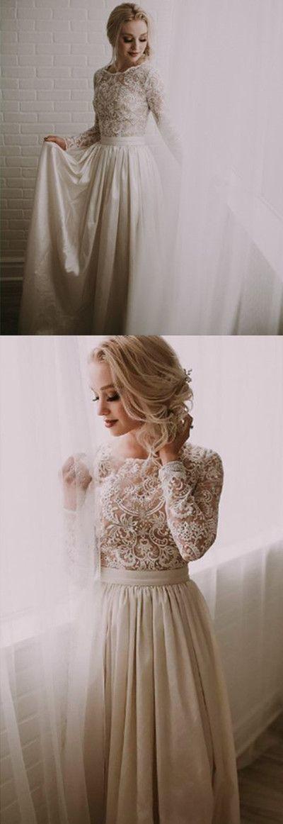 Long Sleeve Lace Prom Dress,Ivory Evening Dress,Prom Dress M9450