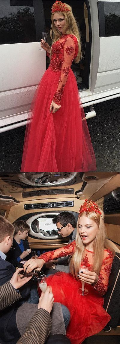 Tulle Red Prom Dress with Beading, Long Sleeve Appliques Prom Gown M9454